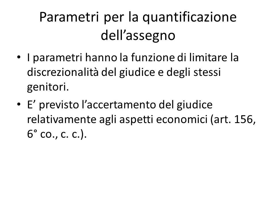 Parametri per la quantificazione dell'assegno