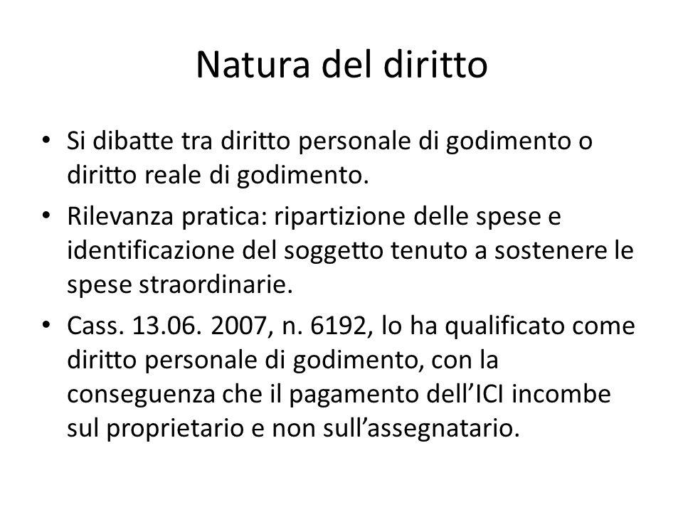 Natura del diritto Si dibatte tra diritto personale di godimento o diritto reale di godimento.
