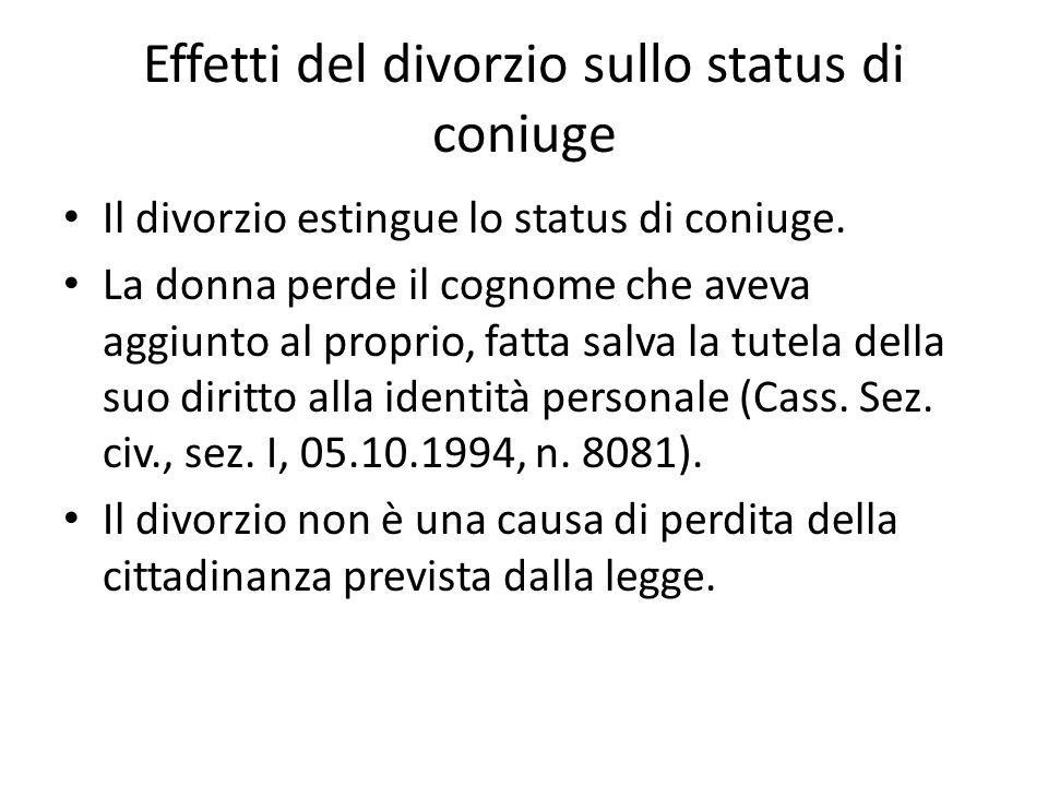 Effetti del divorzio sullo status di coniuge