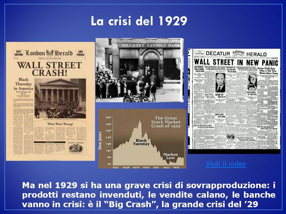 La crisi del 1929 Vedi il video.