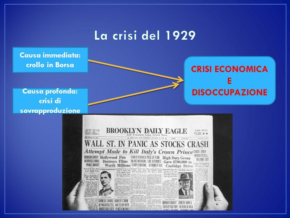La crisi del 1929 CRISI ECONOMICA E DISOCCUPAZIONE