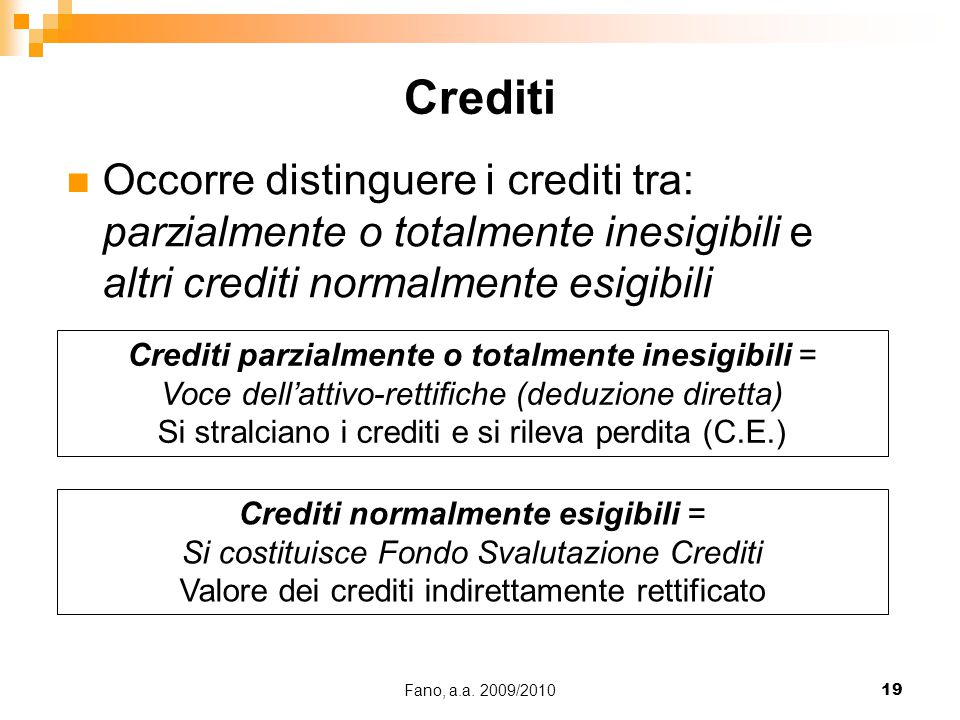 Crediti Occorre distinguere i crediti tra: parzialmente o totalmente inesigibili e altri crediti normalmente esigibili.