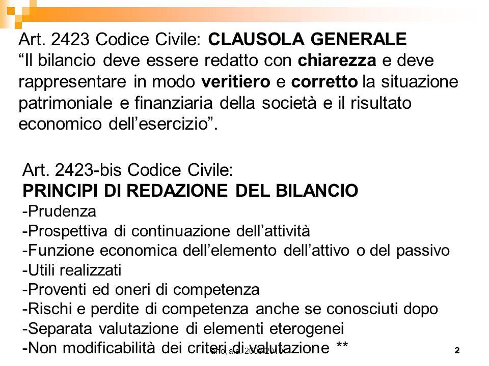 Art. 2423 Codice Civile: CLAUSOLA GENERALE