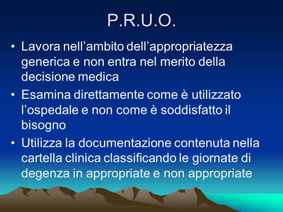 P.R.U.O. Lavora nell'ambito dell'appropriatezza generica e non entra nel merito della decisione medica.