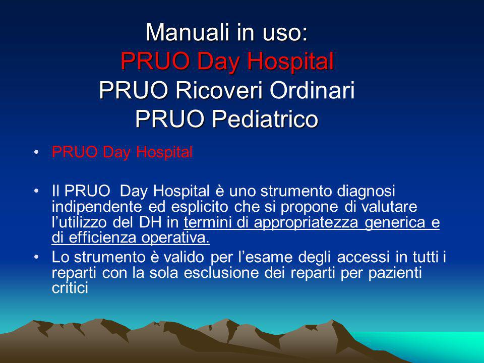 Manuali in uso: PRUO Day Hospital PRUO Ricoveri Ordinari PRUO Pediatrico