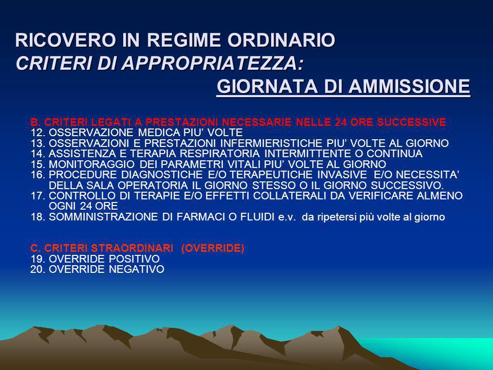 RICOVERO IN REGIME ORDINARIO CRITERI DI APPROPRIATEZZA: GIORNATA DI AMMISSIONE