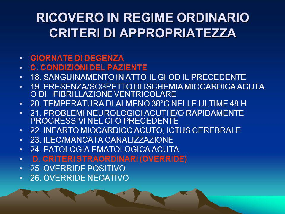 RICOVERO IN REGIME ORDINARIO CRITERI DI APPROPRIATEZZA