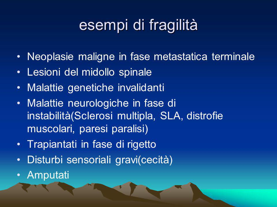 esempi di fragilità Neoplasie maligne in fase metastatica terminale