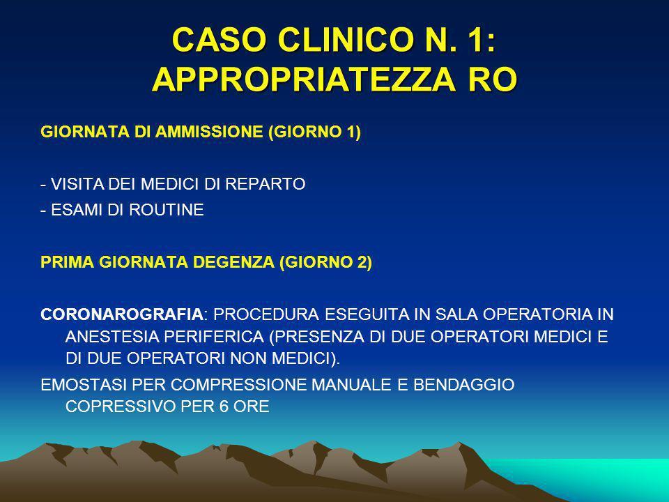 CASO CLINICO N. 1: APPROPRIATEZZA RO