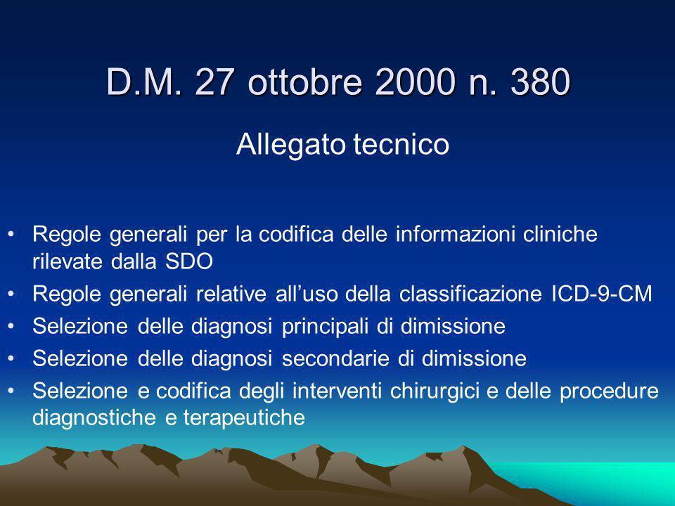 D.M. 27 ottobre 2000 n. 380 Allegato tecnico