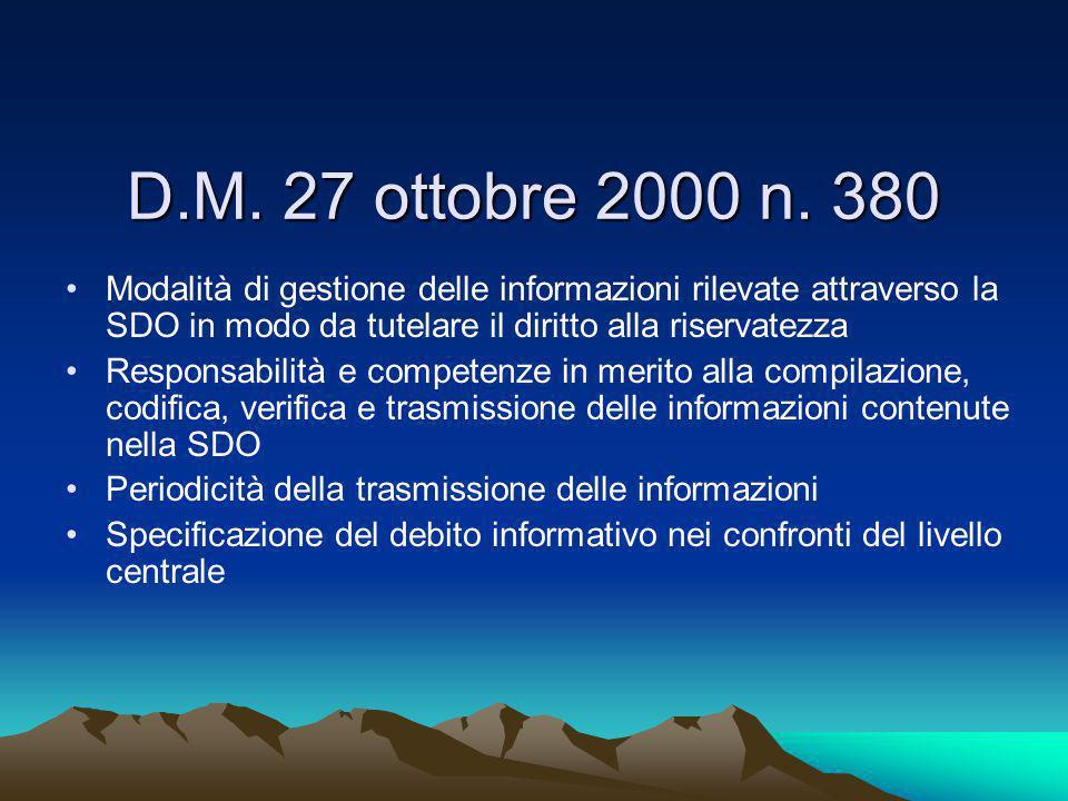 D.M. 27 ottobre 2000 n. 380 Modalità di gestione delle informazioni rilevate attraverso la SDO in modo da tutelare il diritto alla riservatezza.