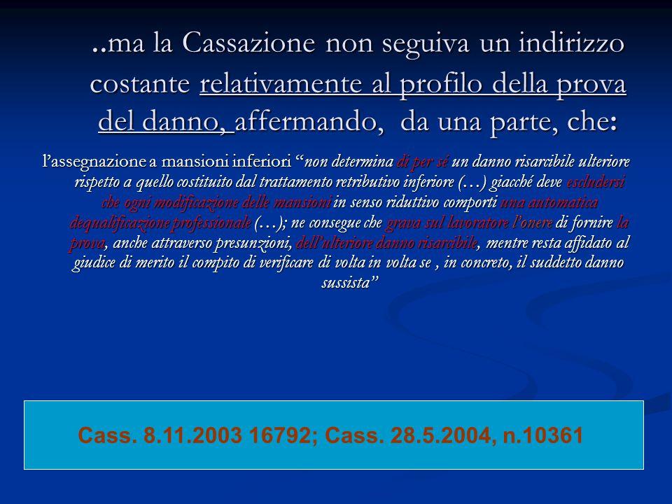 ..ma la Cassazione non seguiva un indirizzo costante relativamente al profilo della prova del danno, affermando, da una parte, che: