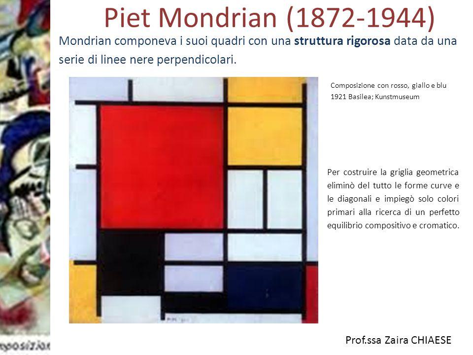 Piet Mondrian (1872-1944) Mondrian componeva i suoi quadri con una struttura rigorosa data da una serie di linee nere perpendicolari.