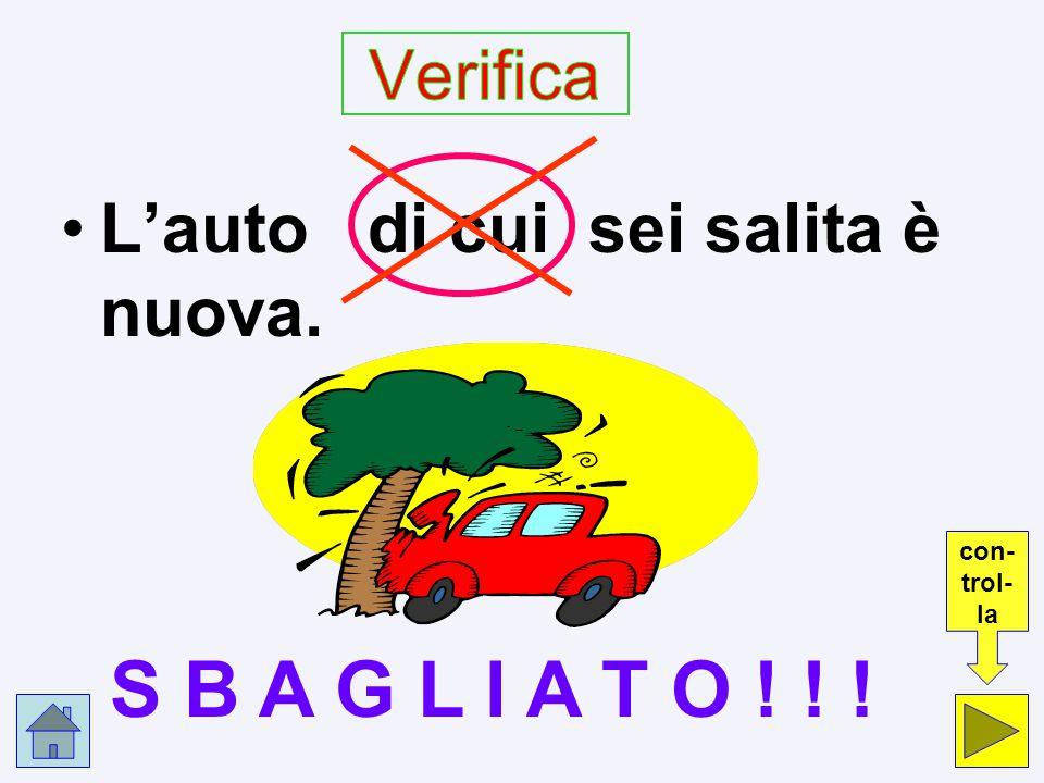 S B A G L I A T O ! ! ! Verifica L'auto di cui sei salita è nuova.