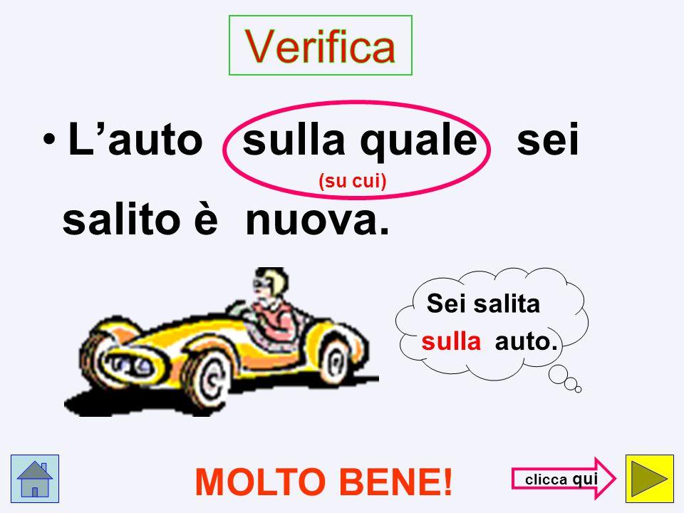 Verifica L'auto sulla quale sei MOLTO BENE! Sei salita sulla auto.