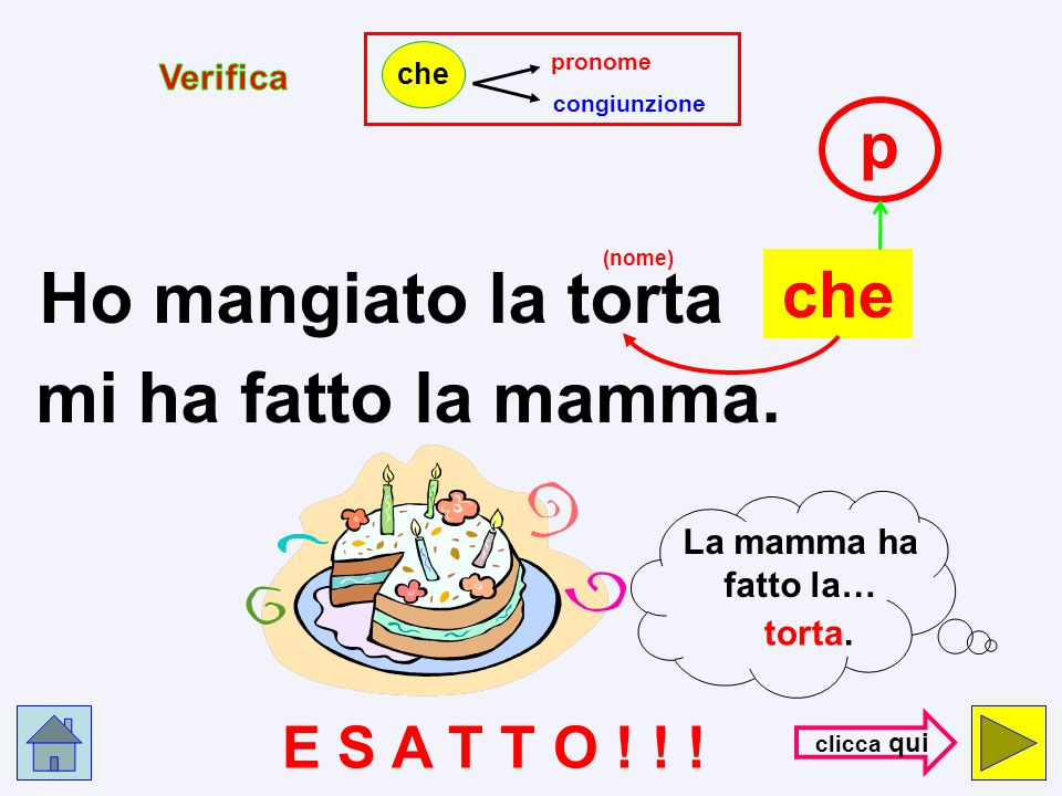 Ho mangiato la torta mi ha fatto la mamma. p che E S A T T O ! ! !