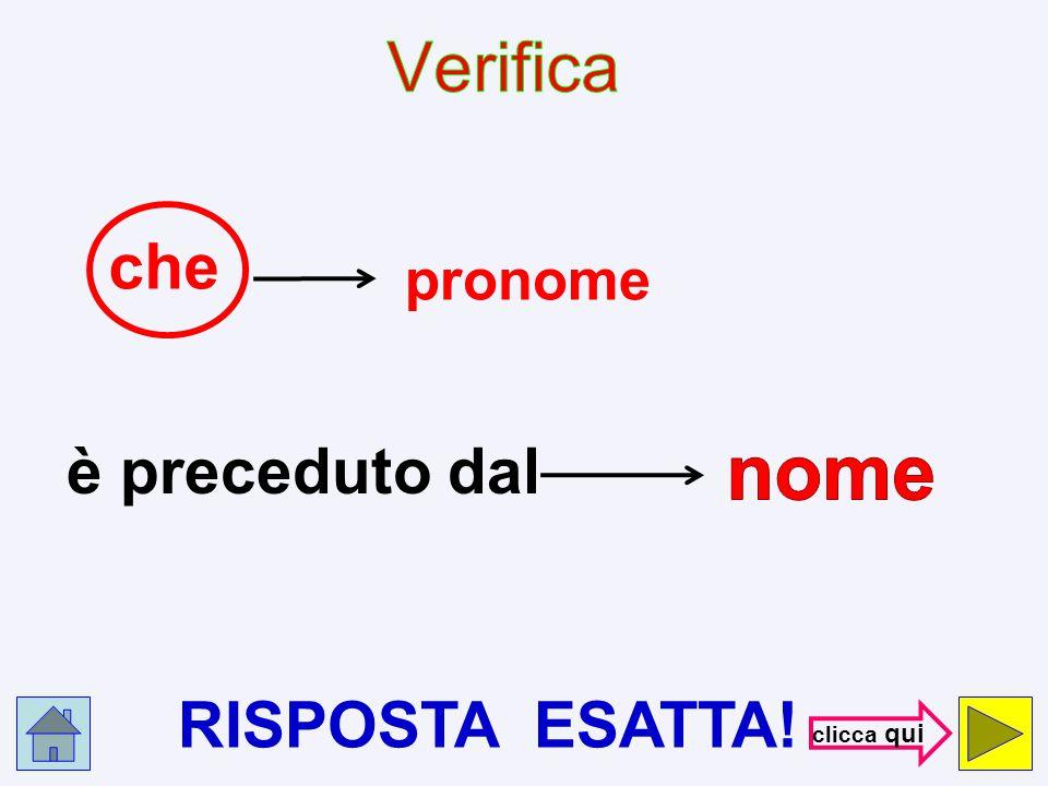 Verifica che pronome nome è preceduto dal RISPOSTA ESATTA! clicca qui