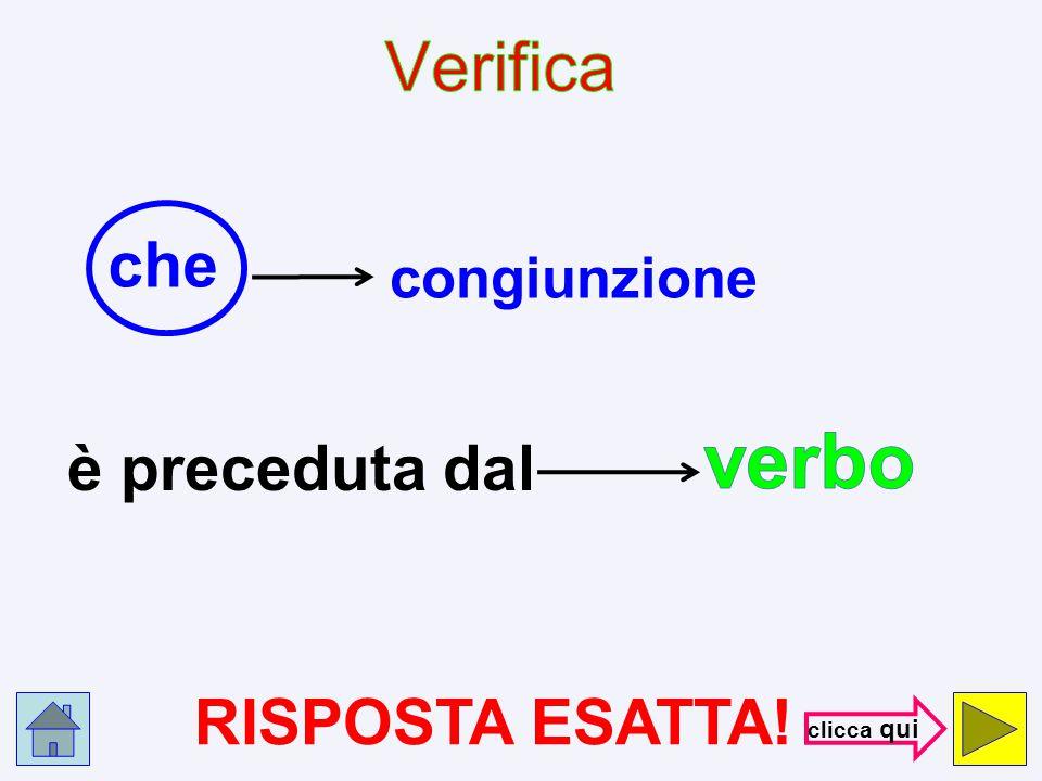 verbo Verifica che è preceduta dal RISPOSTA ESATTA! congiunzione