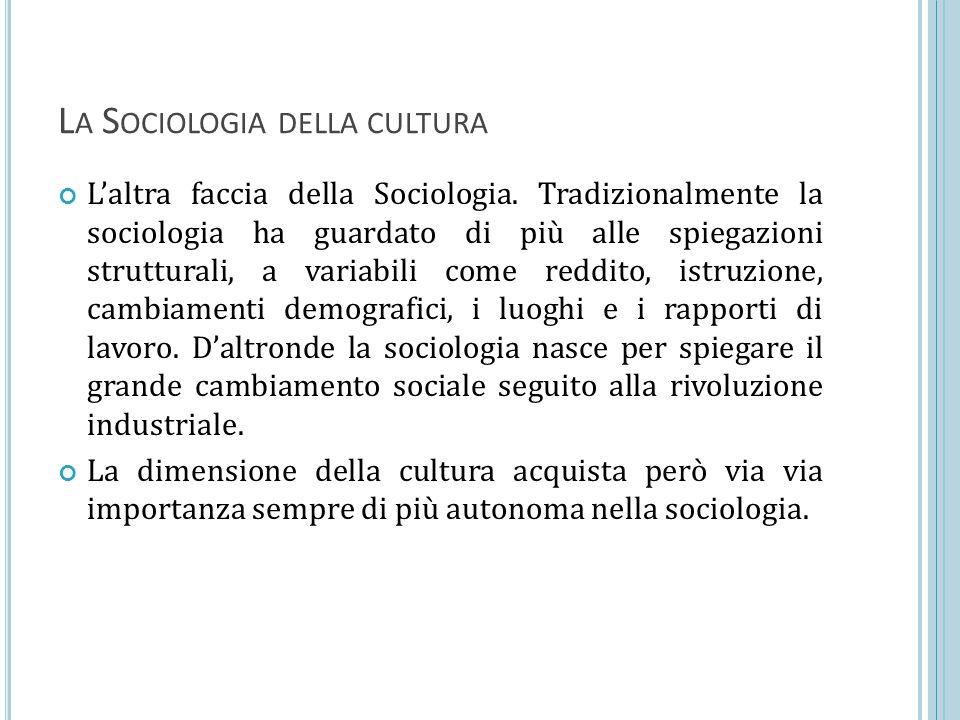 La Sociologia della cultura