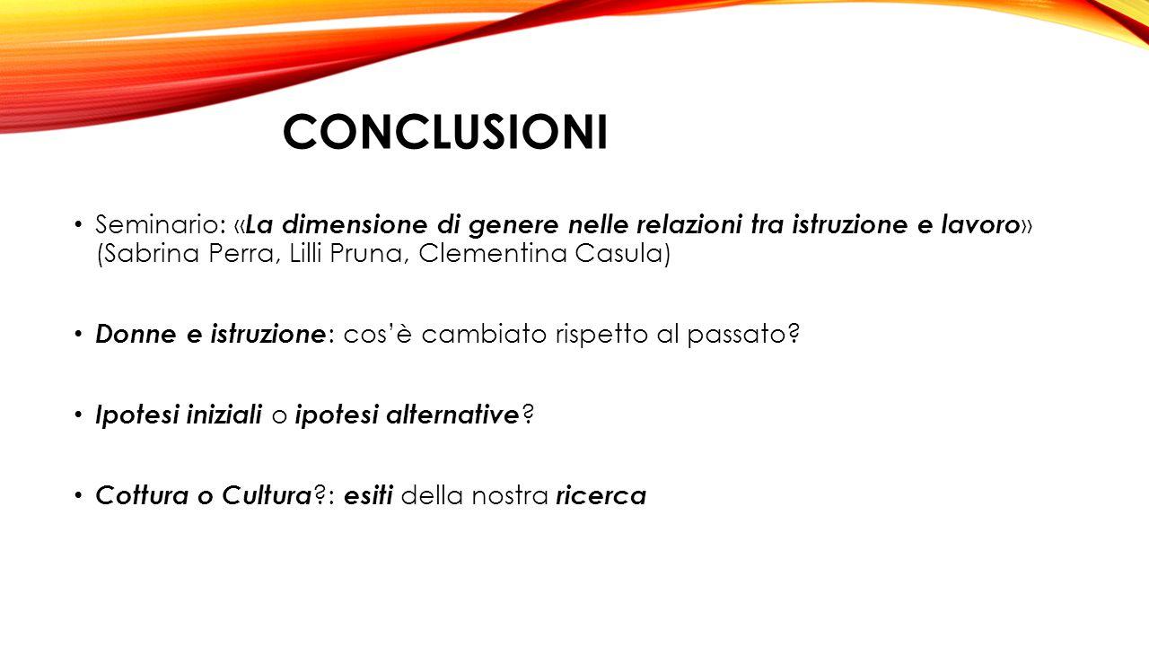 conclusioni Seminario: «La dimensione di genere nelle relazioni tra istruzione e lavoro» (Sabrina Perra, Lilli Pruna, Clementina Casula)