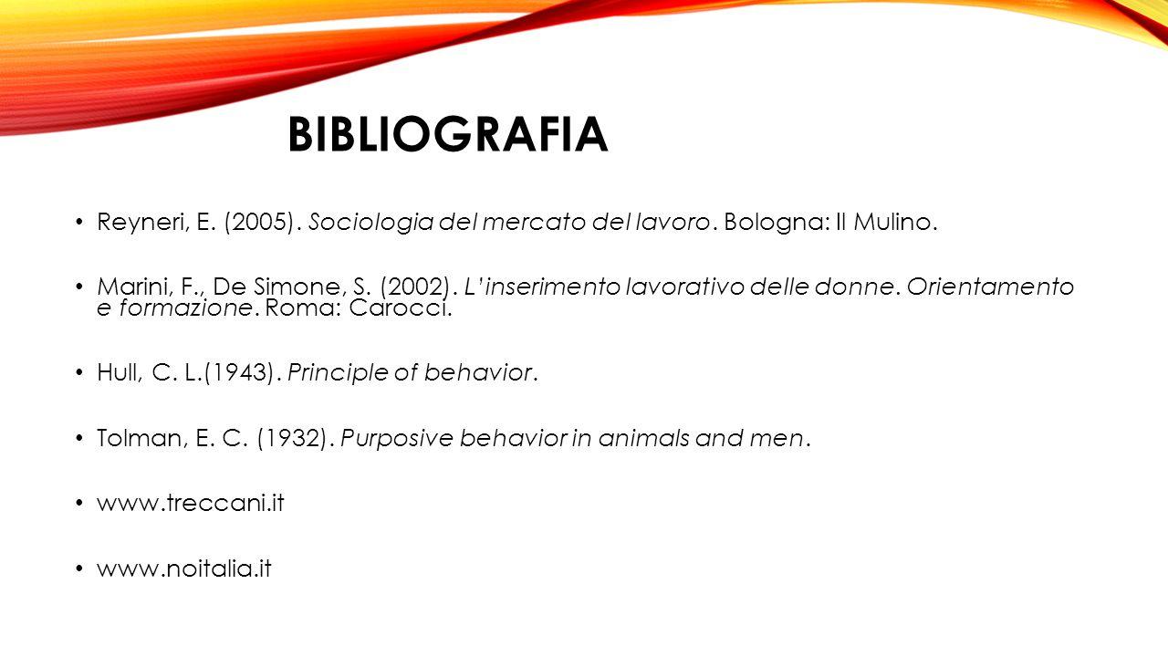 bibliografia Reyneri, E. (2005). Sociologia del mercato del lavoro. Bologna: Il Mulino.