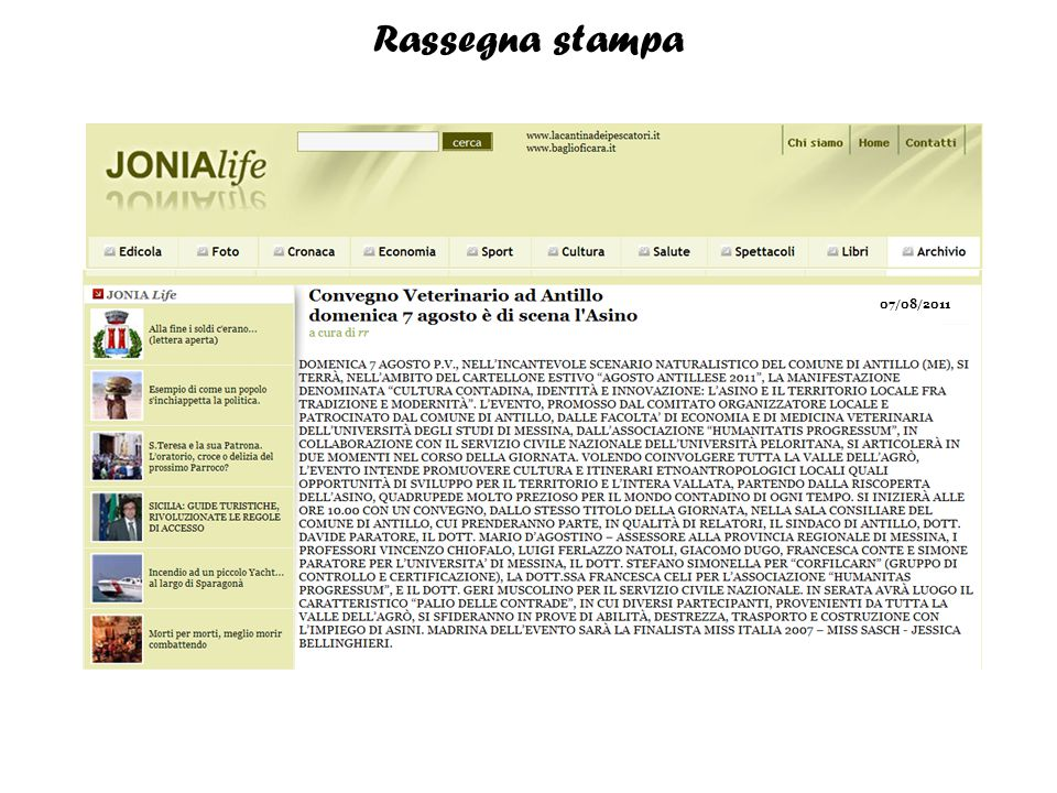 Rassegna stampa 07/08/2011