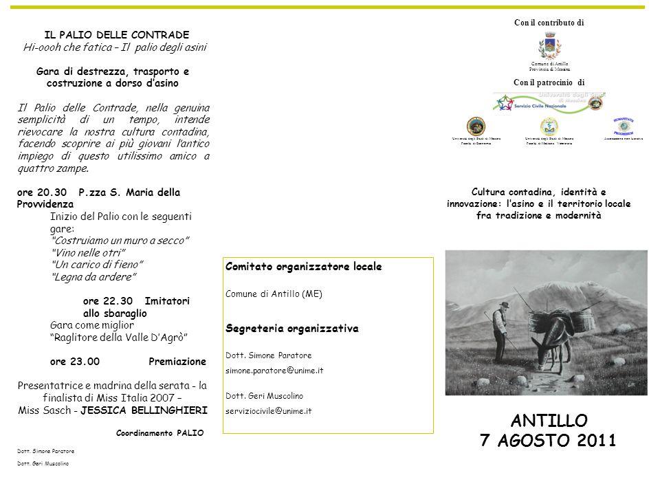 ANTILLO 7 AGOSTO 2011 Comitato organizzatore locale