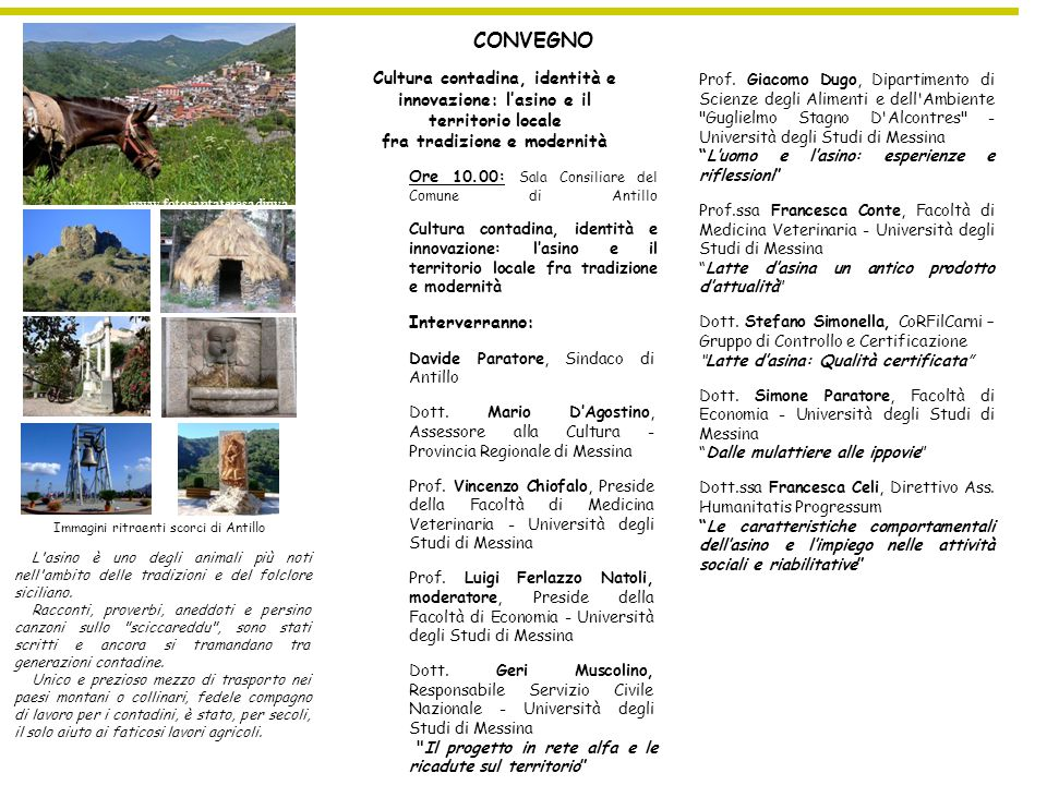 www.fotosantateresadiriva.com CONVEGNO. Cultura contadina, identità e innovazione: l'asino e il territorio locale.