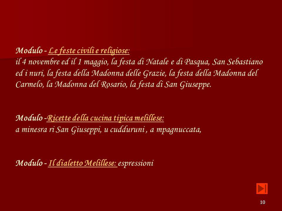 Modulo - Le feste civili e religiose:
