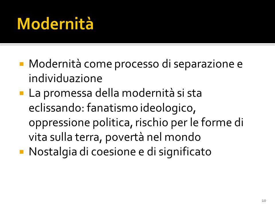 Modernità Modernità come processo di separazione e individuazione