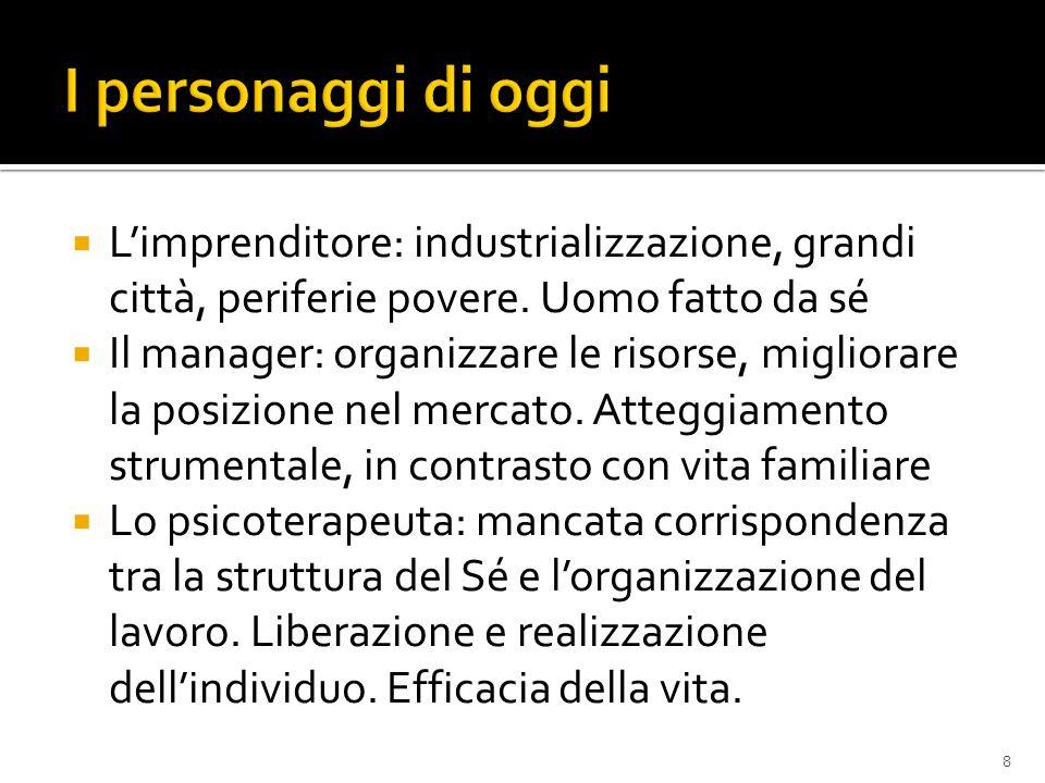 I personaggi di oggi L'imprenditore: industrializzazione, grandi città, periferie povere. Uomo fatto da sé.