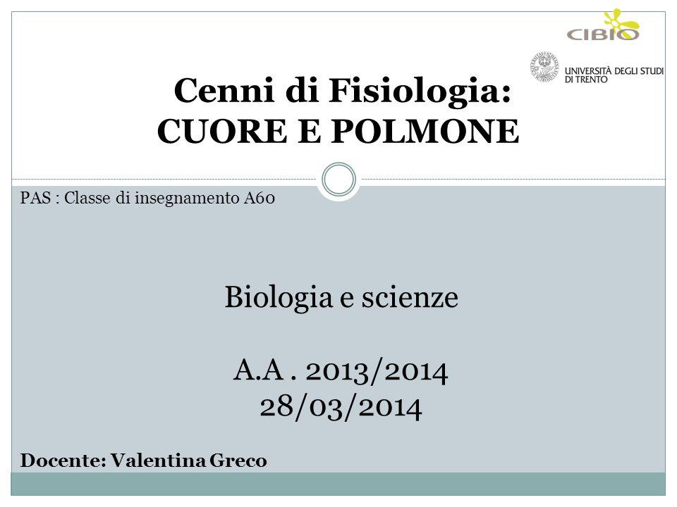 Cenni di Fisiologia: CUORE E POLMONE Biologia e scienze