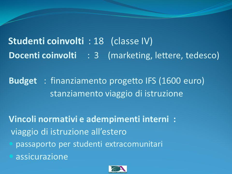 Studenti coinvolti : 18 (classe IV)