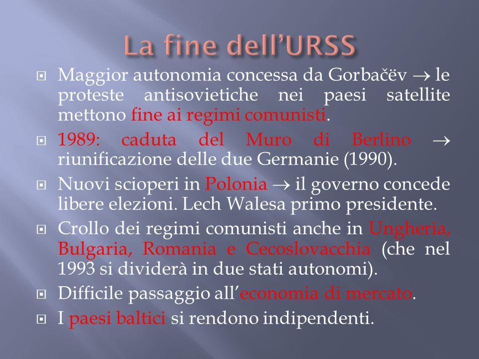 La fine dell'URSS Maggior autonomia concessa da Gorbačëv  le proteste antisovietiche nei paesi satellite mettono fine ai regimi comunisti.