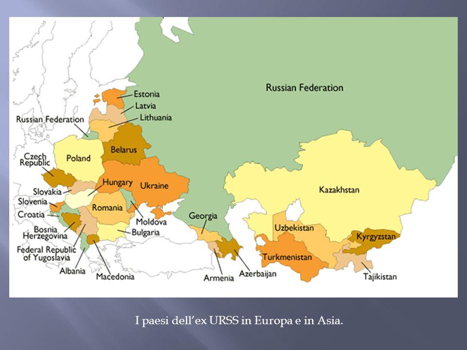 I paesi dell'ex URSS in Europa e in Asia.