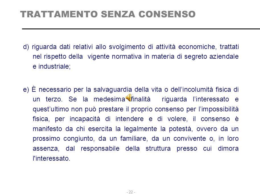 TRATTAMENTO SENZA CONSENSO