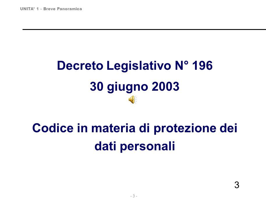 Decreto Legislativo N° 196 30 giugno 2003