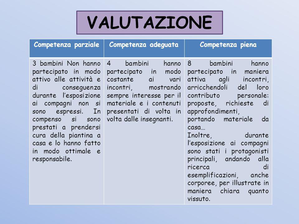 VALUTAZIONE Competenza parziale Competenza adeguata Competenza piena