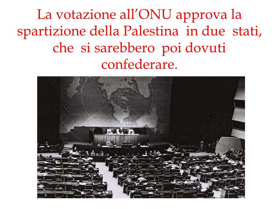 La votazione all'ONU approva la spartizione della Palestina in due stati, che si sarebbero poi dovuti confederare.