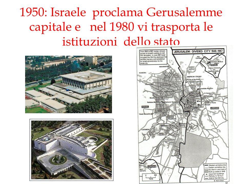 1950: Israele proclama Gerusalemme capitale e nel 1980 vi trasporta le istituzioni dello stato