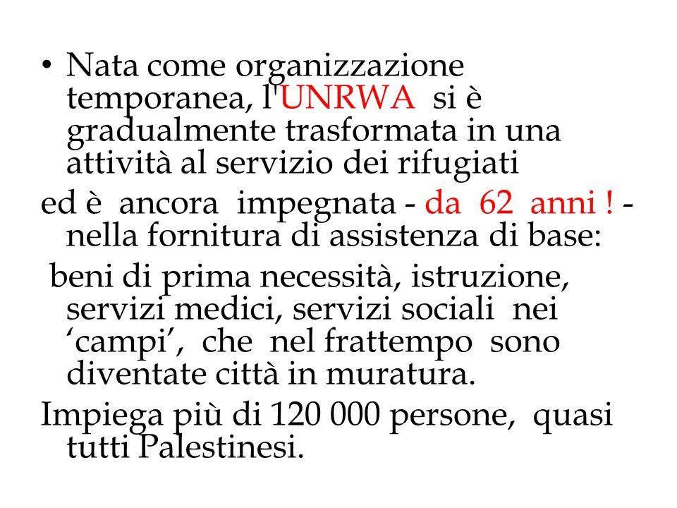 Nata come organizzazione temporanea, l UNRWA si è gradualmente trasformata in una attività al servizio dei rifugiati
