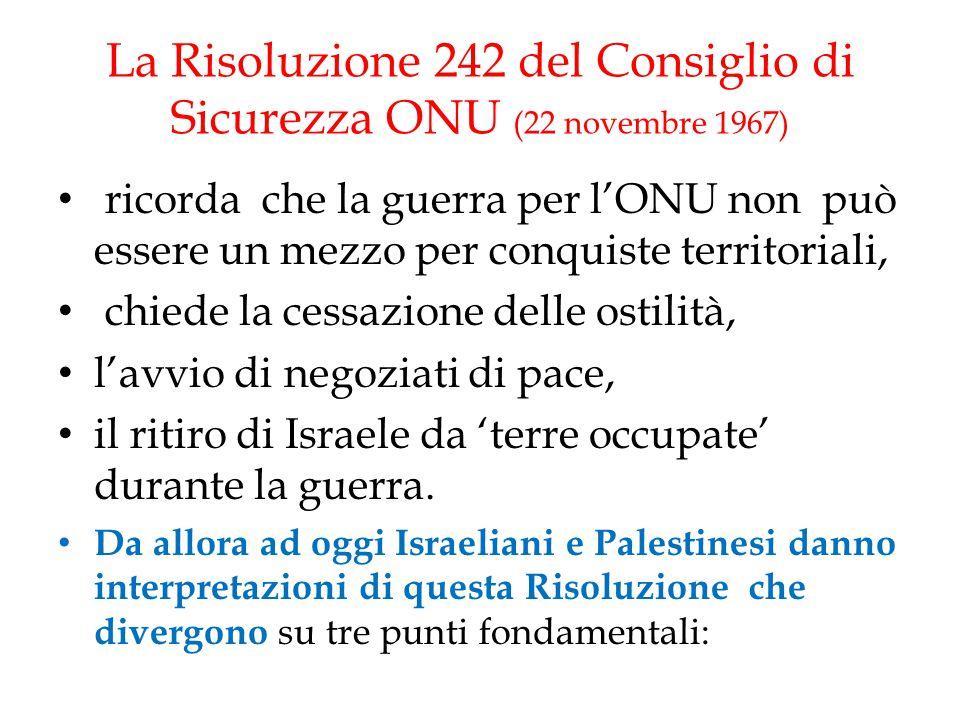 La Risoluzione 242 del Consiglio di Sicurezza ONU (22 novembre 1967)