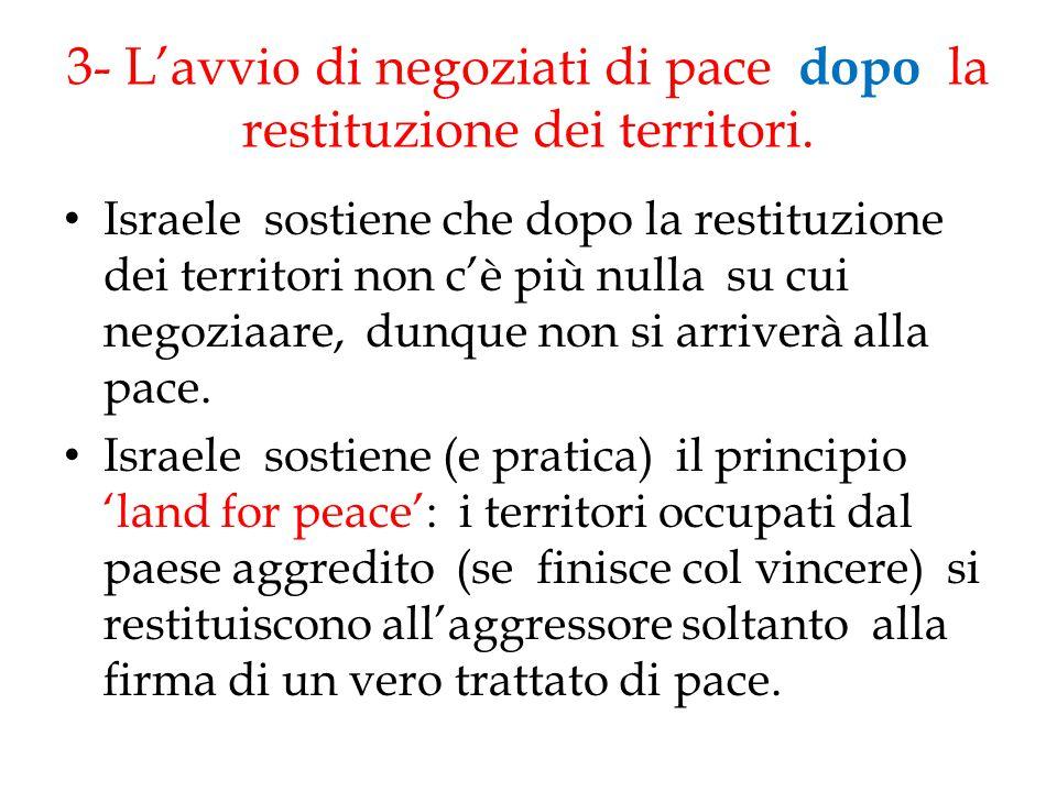 3- L'avvio di negoziati di pace dopo la restituzione dei territori.