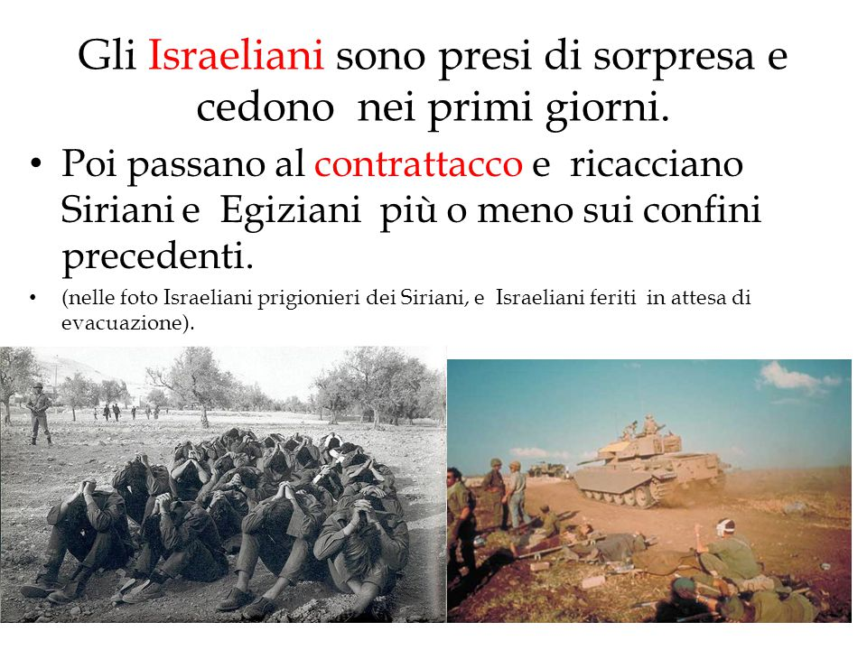 Gli Israeliani sono presi di sorpresa e cedono nei primi giorni.