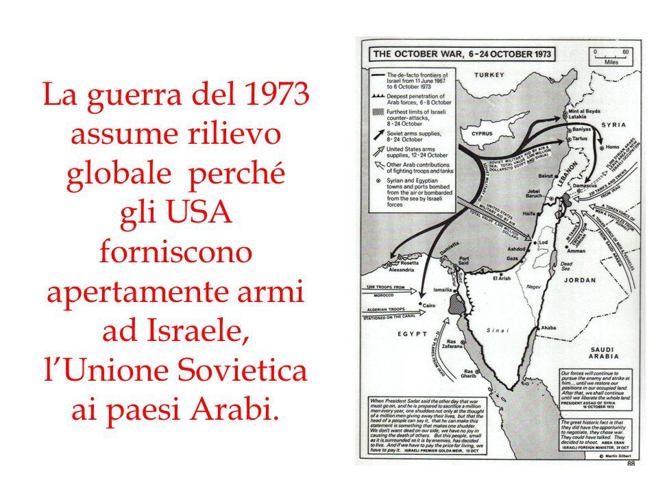 La guerra del 1973 assume rilievo globale perché gli USA forniscono apertamente armi ad Israele, l'Unione Sovietica ai paesi Arabi.