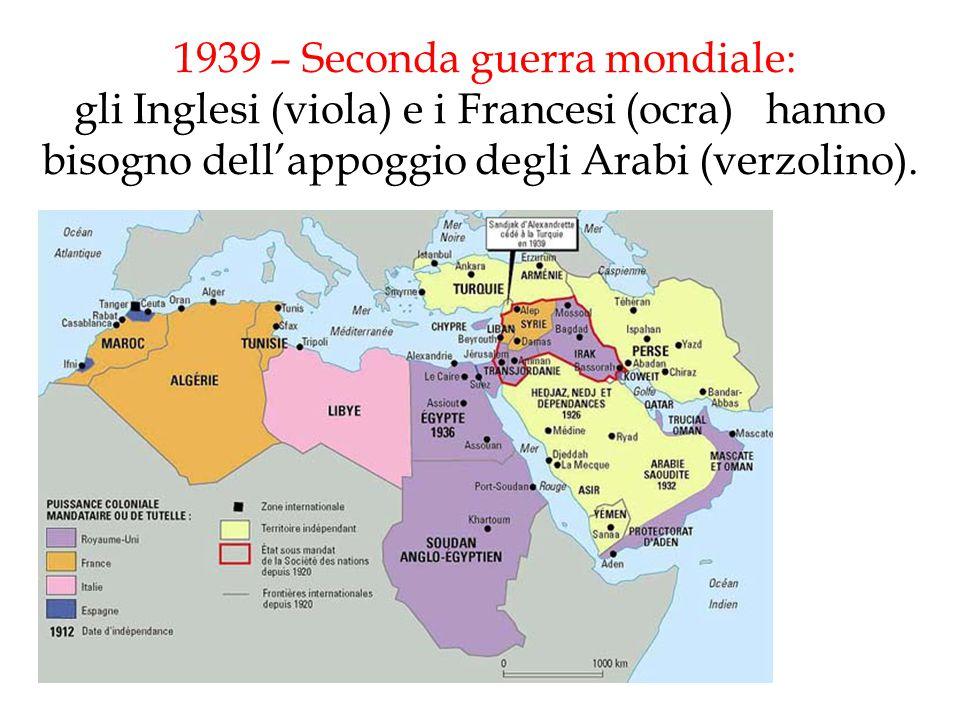 1939 – Seconda guerra mondiale: gli Inglesi (viola) e i Francesi (ocra) hanno bisogno dell'appoggio degli Arabi (verzolino).
