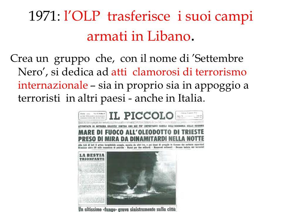 1971: l'OLP trasferisce i suoi campi armati in Libano.
