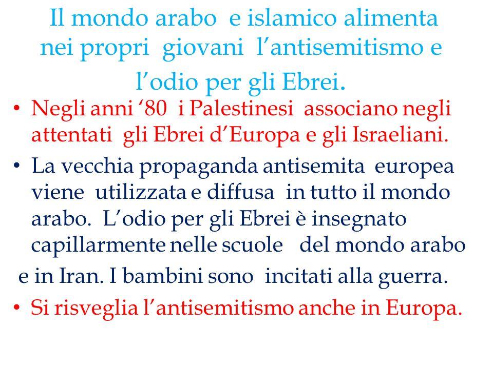 Il mondo arabo e islamico alimenta nei propri giovani l'antisemitismo e l'odio per gli Ebrei.