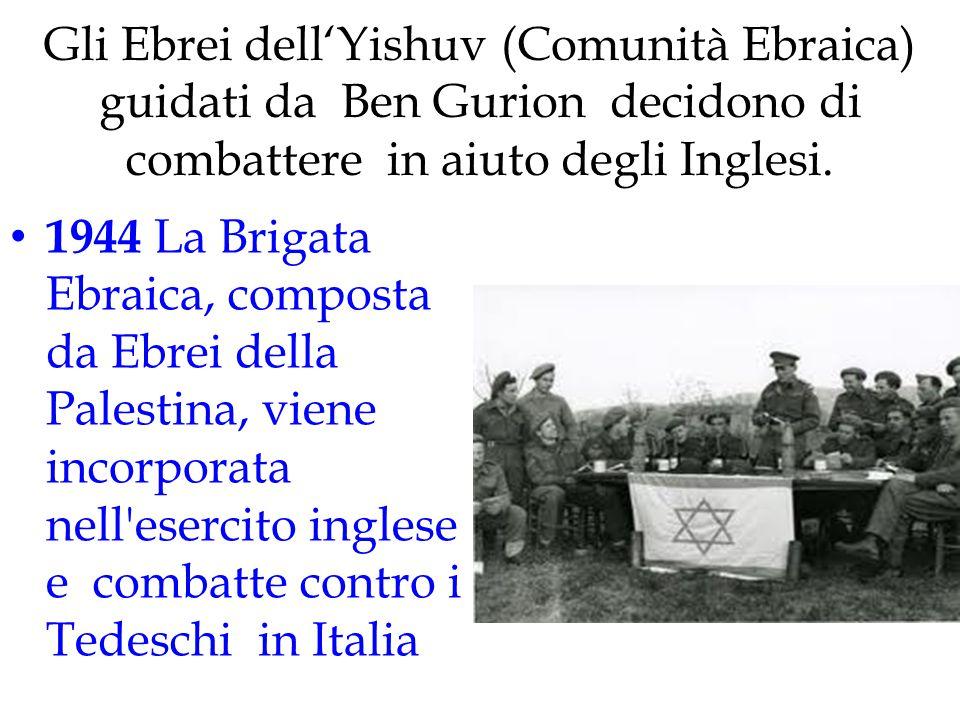 Gli Ebrei dell'Yishuv (Comunità Ebraica) guidati da Ben Gurion decidono di combattere in aiuto degli Inglesi.