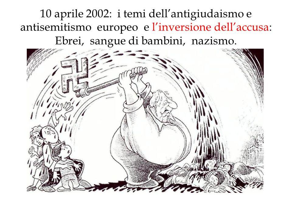 10 aprile 2002: i temi dell'antigiudaismo e antisemitismo europeo e l'inversione dell'accusa: Ebrei, sangue di bambini, nazismo.